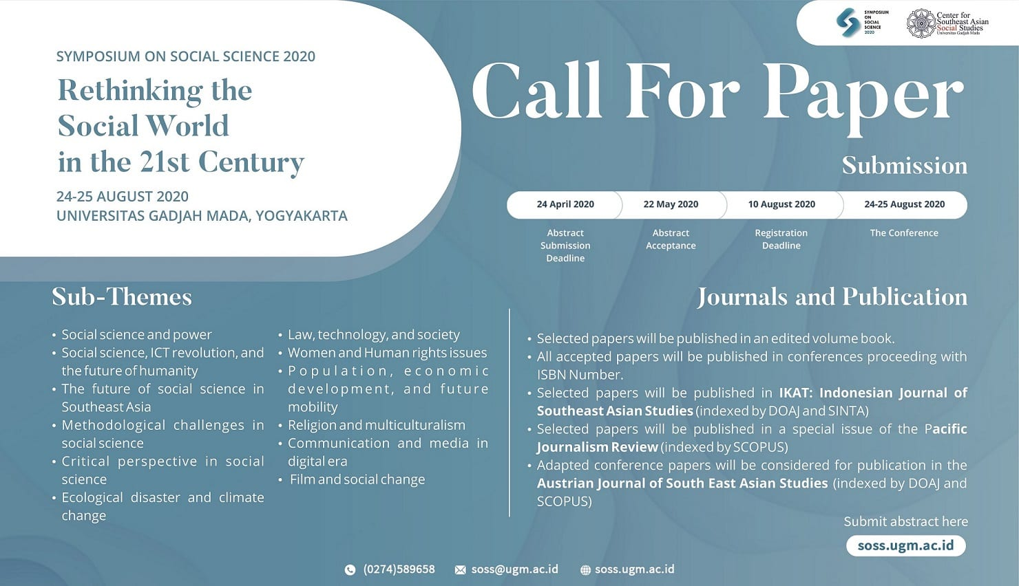 [CALL FOR PAPERS] SOSS 2020 : Rethinking the Social World in 21st Century